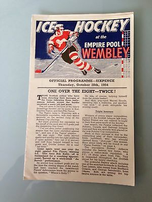 Wembley Lions V Paisley Oct 1954 Ice Hockey Programme