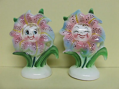 Vintage PY Anthropomorphic Giggling/Smiley Tiger Lilies/Flowers Salt & Pepper