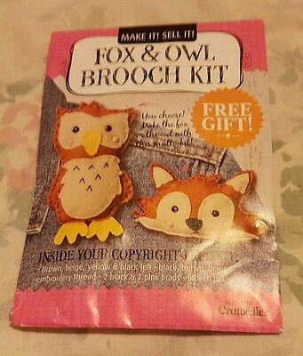 Fox & Owl Brooch Kit - DOES NOT INCLUDE INSTRUCTIONS