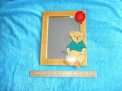 Children's Modern Wooden Framed Mirror With Teddy Bear And Balloon