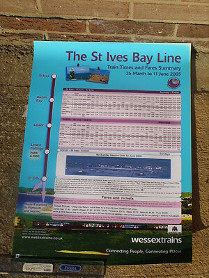 Wessex Trains A2 poster 2005 Cornish Branch St Ives bay timetable Class 150 DMU
