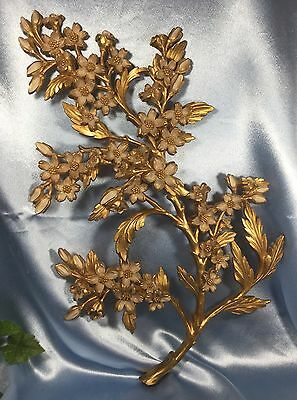 Vintage HOMCO Syroco Wall Plaque: 7033 Gold + Ivory Dogwood Flowers. #2279.