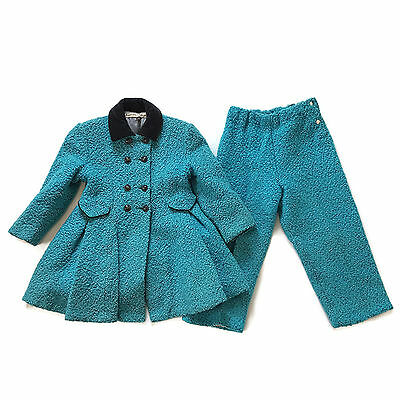 Vintage Princess Coat Girls Pants Wool Boucle Turquoise Blue Handmade Childs 5-6