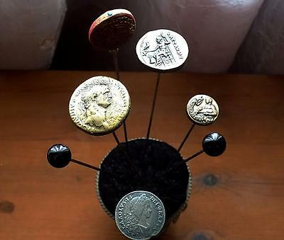 7 Victorian/Edwardian Hatpins with a Silver-Plate Hatpin Holder.