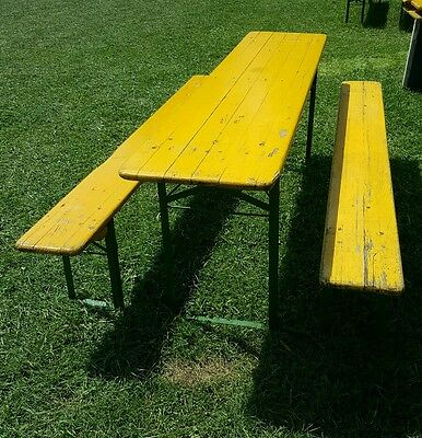 VINTAGE BEER GARDEN Table and Bench Set Folding German Made 3 pc Set ...