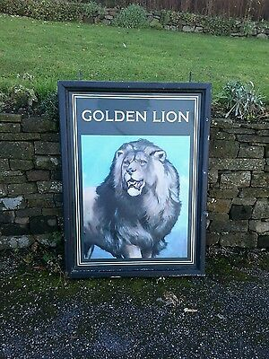 GOLDEN LION pub sign advertising breweriana man cave large wall art bar brewery