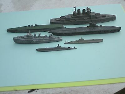 Old  Diecast  Warships & Submarines---6 In Total
