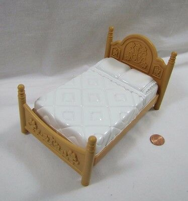 Rare! FISHER PRICE Loving Family Dollhouse DOUBLE BED Parent's Bedroom Rare