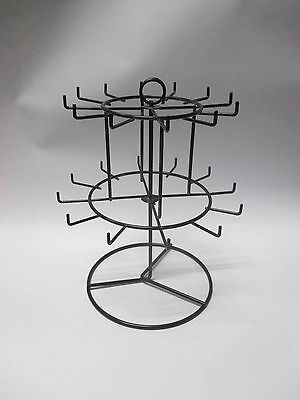 New Black 12 Peg-2 Tier Counter Spinner for Key Chains, Small Hangings Display