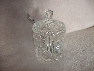 Sparkliing Cut Glass Crystal Jam/Preserve Pot with Spoon