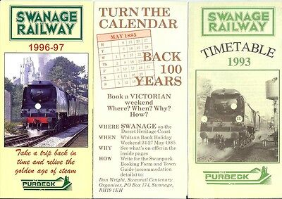 Swanage Railway Purbeck 1985/93/96 timetable Centenary leaflet Bulleid 34072