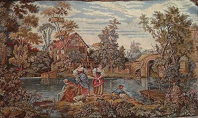 STUNNING LARGE ANTIQUE FRENCH Vintage Neoclassical Landscape TAPESTRY 105x90cm