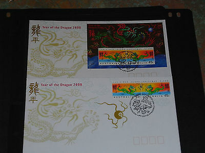 Christmas Island 2000 Year Of The Dragon M/sheet & Set Of 2 On 2 Fdcs Mint Cond