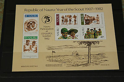 Nauru  1982 Year Of The Boy Scout Movement Minature Sheet Fine M/n/h