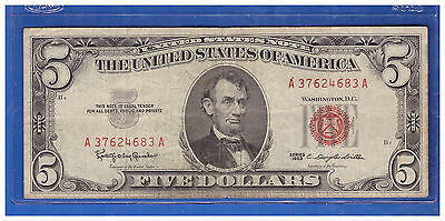 Old Vintage 1963 Series $5 Dollar Bill  Red Seal United States Currency LOTH446