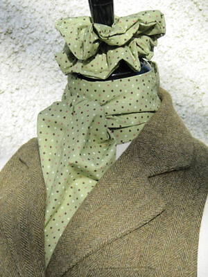 Olive Green with Pink & Brown Pin Ready Tied/Self Tied Riding Stock + Scrunchie
