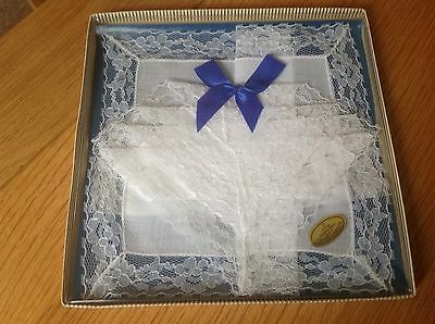 Two Vintage Cotton Lace Handkerchiefs Boxed Made In U.K. New