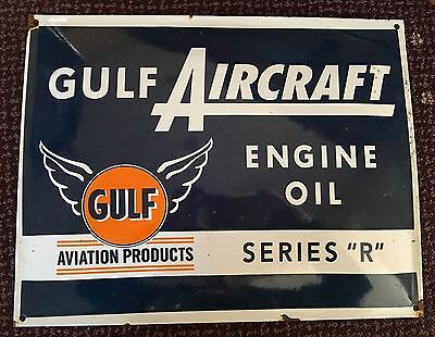 Gulf Aviation Aircraft Engine Oil Porcelain Advertising Sign Airplane Service