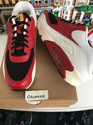 sports shoes ee168 c34fb NIKE AIR MAX 90 Black Varsity Red White Size 11 Style 325018-061 ...