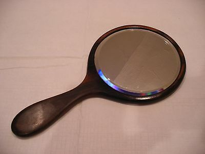 Antique Vintage Real Ebony Bevelled Glass Round Hand Mirror