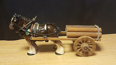 Melba Ware Shire Horse And Wooden Cart