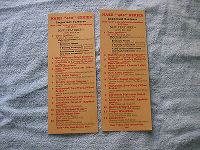 Vintage 2 Piece Lot 1929 NASH Automobile Advertising Cards