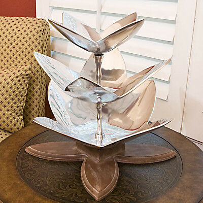 Imax Three Tier Leaf Tray with Wood Base