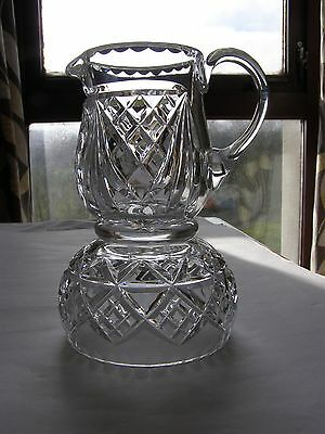 Vintage Crystal Milk Jug and Sugar Bowl - Mismatched - Hand Blow and Hand Cut