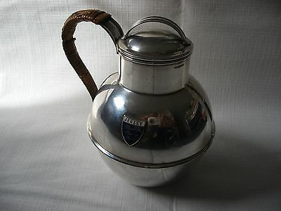 P Le Geyt Silver Plate Jersey Milk Cream Can Jug Pitcher Canework Handle