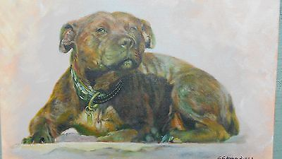 oil painting of staffordshire bull terrier