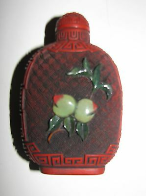 Chinese Cinnabar Snuff Bottle With Semi-Precious Stones