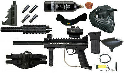 BT-4 Combat Paintball Kit with mods Hand Guard+Mag+Stock+Belt+pods FREE CO2 Tank