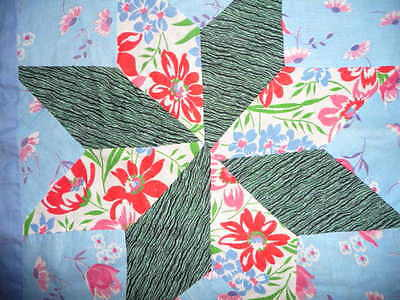 Vintage 8 Point STAR Quilt Top with 1940-50's Feedsack Prints