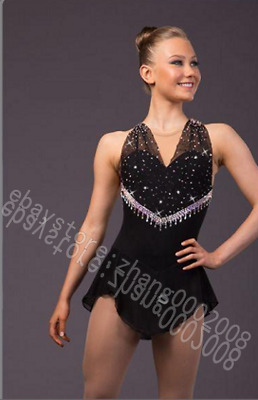 Ice skating dress.Black Competition Figure Skating dress.Baton Twirling custom