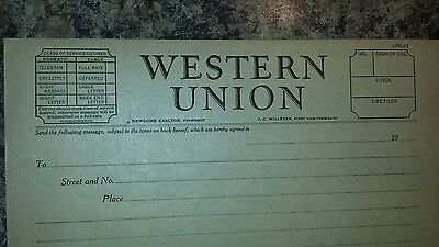 Vintage Western Union Message Blanks Great Condition NEWCOMB CARLTON PRESIDENT
