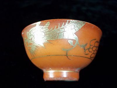 Awesome Antique (1920) Japanese Porcelain Open Salt Cellar with Gilt Dragon