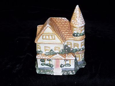 Appealing Ceramic Red Roofed Victorian Cottage Figurine