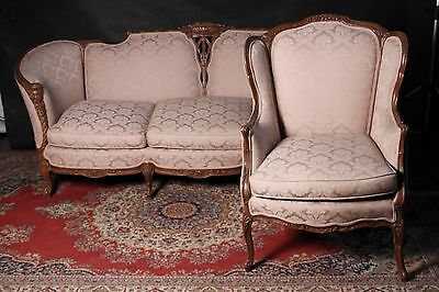 Victorian French Carved Settee Sofa   Wing Chair Stunning Fabric