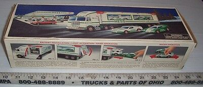 Vintage 97 1997 HESS GASOLINE TOY TRUCK & RACERS IN EXCELLENT CONDITION w/ BOX