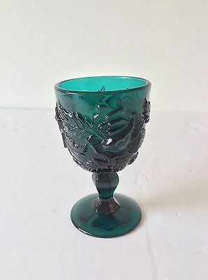 Vtg Madonna Inn Lg Wright Wild Rose Floral Wine Glass Goblet Deep Teal Green