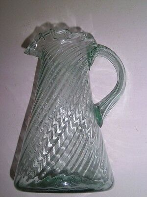 Antique Vintage Mexico/Mexican Glass Pitcher hand blown optic swirl green pontil