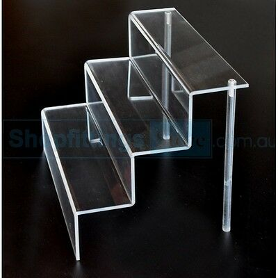 Crystal Clear Acrylic Stairs 305(wide)x220(deep)x230(high) Cosmetics Display