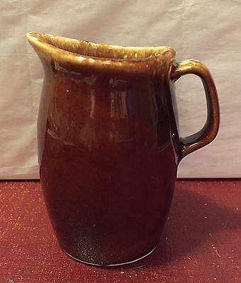 """Hull Pottery Brown Drip Creamer 4.5"""" Pitcher"""