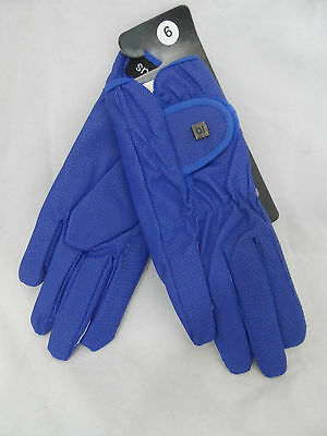 Ladies Blue Synthetic Faux Leather Horse Ridding Gloves Size 6 Small Box8316 C