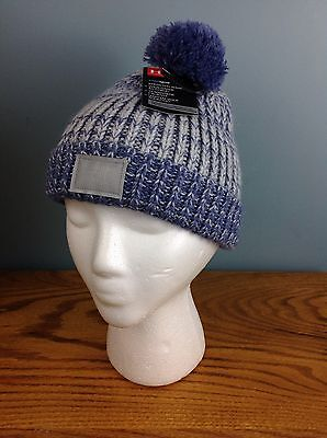 Under Armour Youth Hat Stocking Beanie Blue Silver Medium 4 5 6 7 Years Winter