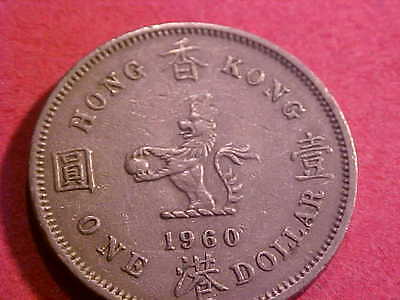 Coins Of The World 1960 Hong Kong One Dollar  Km-31.1 # M-1
