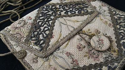 Vintage Floral Tapestry Hand Bag Purse Metallic Bullion Lace Braid Embroidery