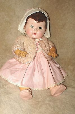 "VTG 1950's 15"" Tiny Tears Doll, ORJ rubber pant/pantie, Caracul Lambs Wool Wig"