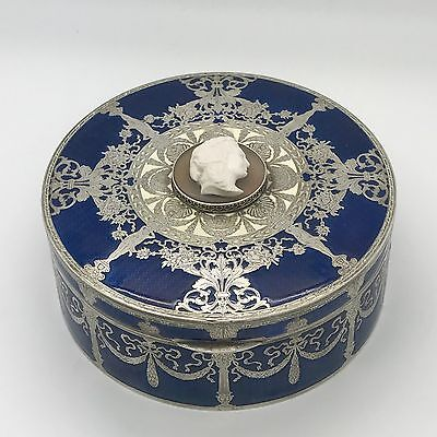 Antique Russian  Faberge Silver Enamel  Box With Cameo Ekaterina The Great