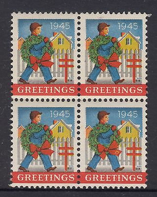 UNITED STATES  1945  Christmas Seals In Block of 4 MUH